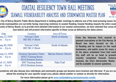 Coastal Resiliency Town Hall Presentations: Staff engaged residents about how the City is working to mitigate the effects of coastal flooding and storms